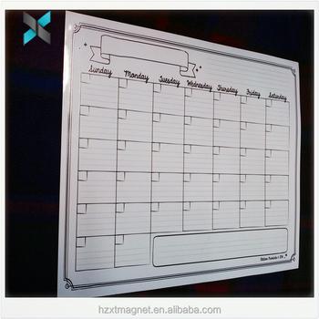 Custom Weekly Calendar Dry Erase Magnetic Board Pvc Fridge Magnet