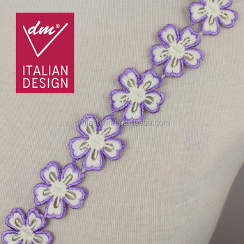 Fancy Lace Borders 3cm Purple Floral Austrian Embroidery Designs