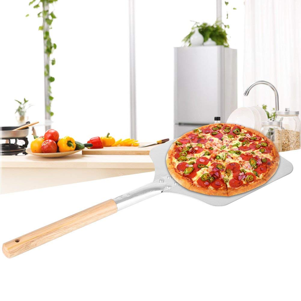 Food Preparation Tools Aluminium Pizza Peel Paddle Tray Pizza Lifter Wooden Handle Overall 9