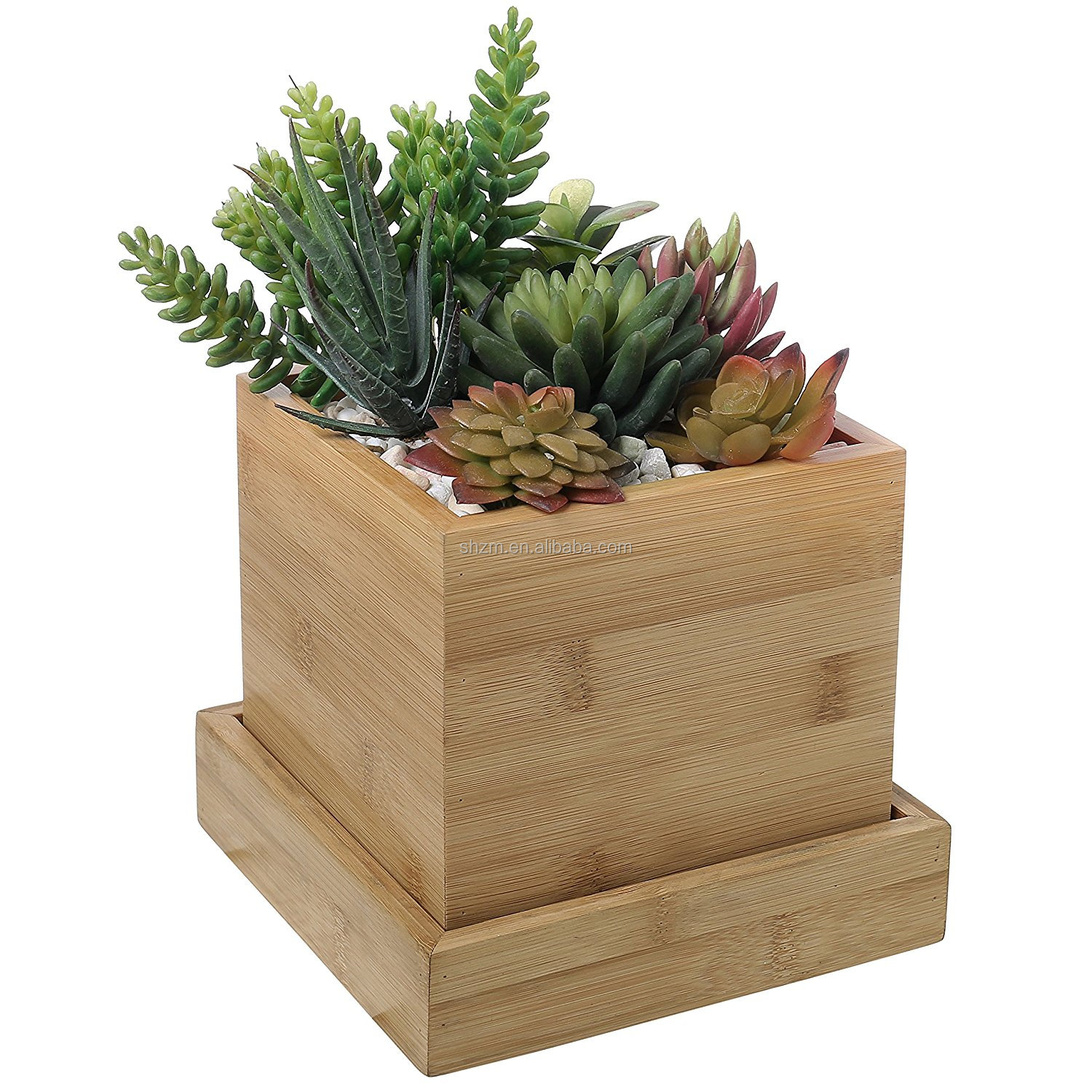 Cactus Planting Pots Wholesale Square Design Succulent Plant Pot Cactus Plant Pot With Bamboo Tray Buy Flower Pot Bamboo Pots Unique Plant Pots Product On Alibaba