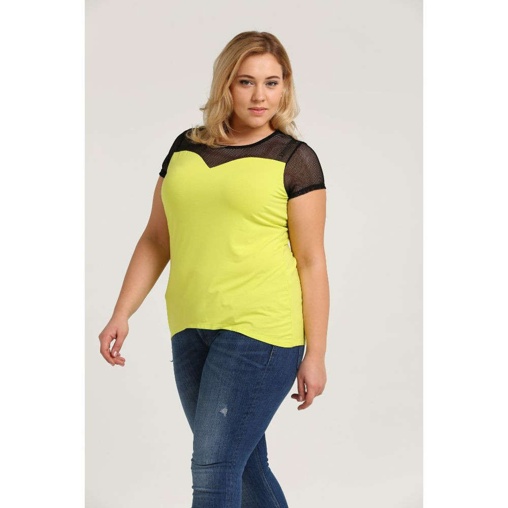 Neon Colored Plus Size Clothing Wholesale Neon Color See-through Fashion Plus Size T-shirt