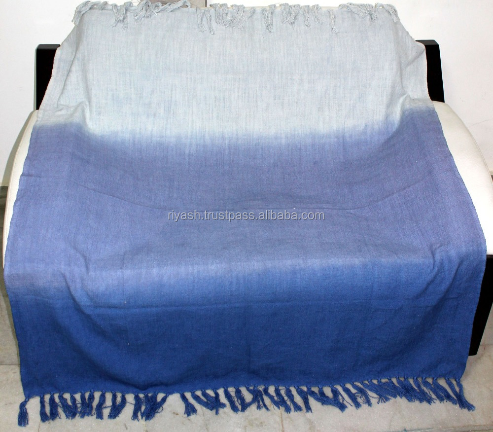 Lounge Throw Dark To Light Hombre Effect Blue Cotton Lounge Throw With Fringe 54
