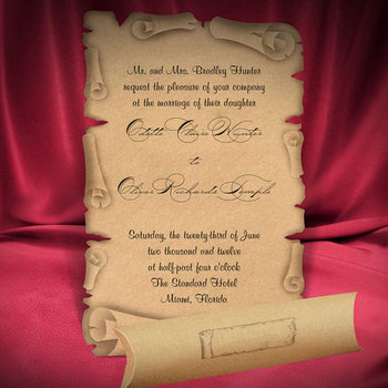 Scroll Wedding Invitation Card Medieval Style Old Craft Paper - Buy - scroll wedding invite