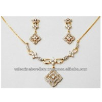 Yellow Gold Diamond Necklace Earring Set - Buy Indian ...