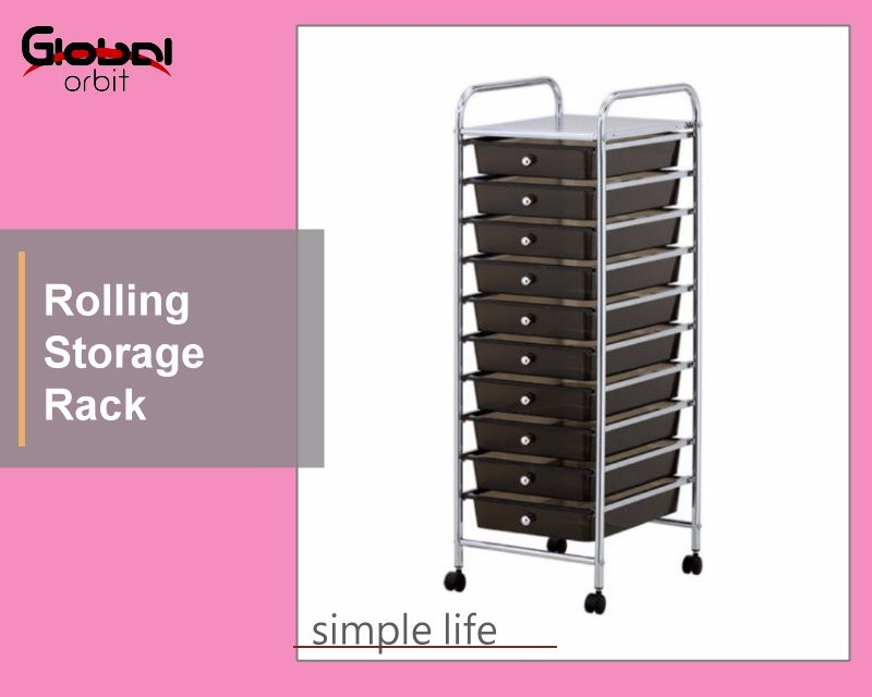 Black Movable Office Trolley Durable Beauty Salon Storage