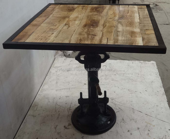 Industrial Jack Crank Bar Table Square Mango Top Wood Iron