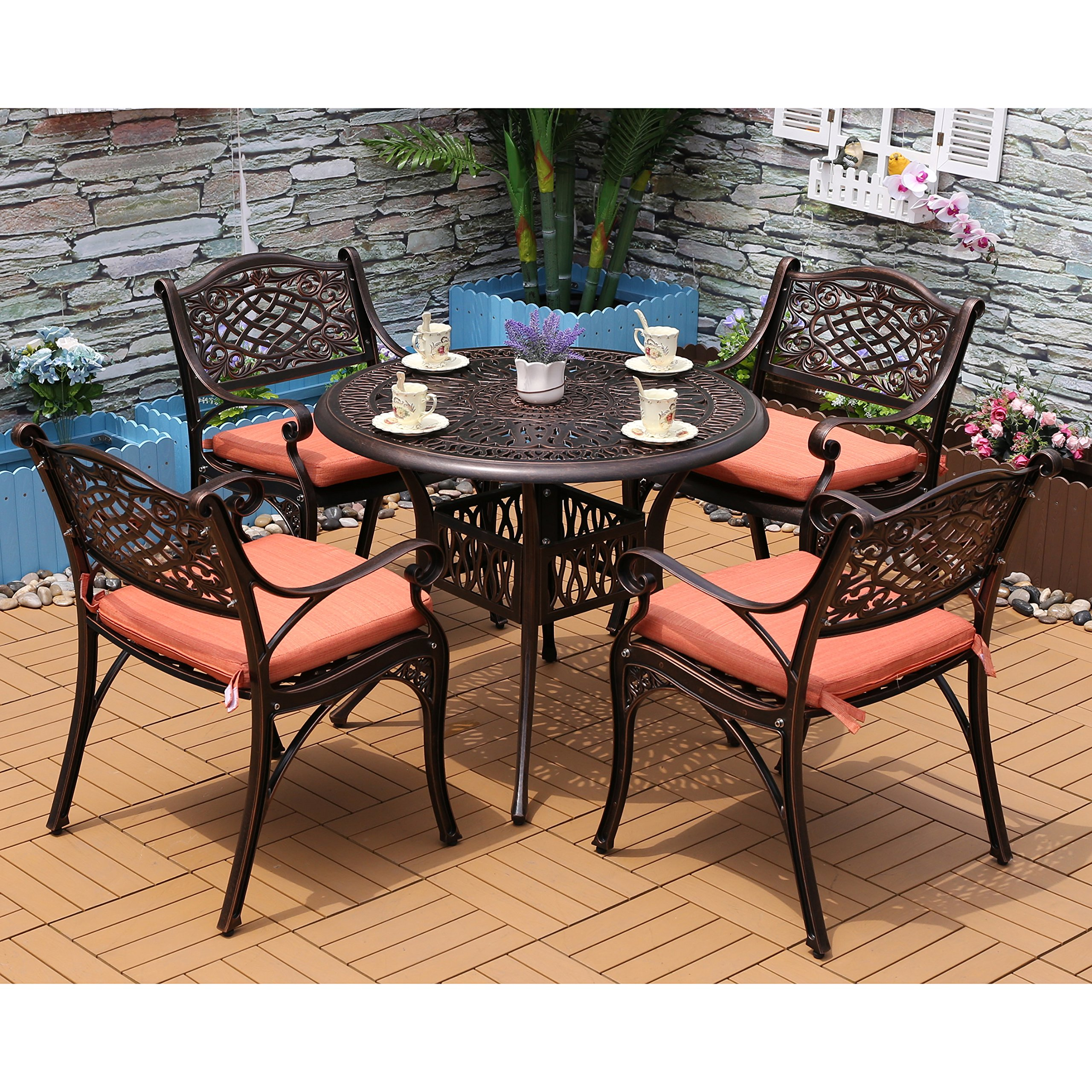 Outdoor Patio Furniture Dining Table Yongcun Outdoor Patio Furniture Cast Aluminum Dining Set Patio Dining Table Chair Color Is Antique Bronze One 35 4