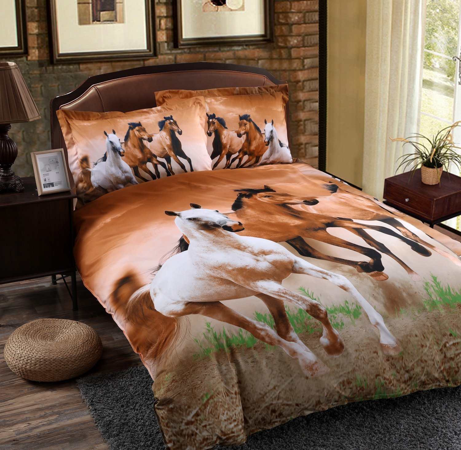 Buy Duvet Cover Babycare Pro Galloping Horse Reactive Print Polyester 3d Duvet Cover Bedding Sets Twin Size 4 Pieces Comforter Not Included Twin