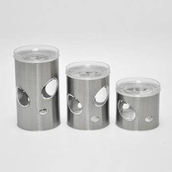 3 Pieces Bubble Design Stainless Steel Tea Coffee Sugar Canisters