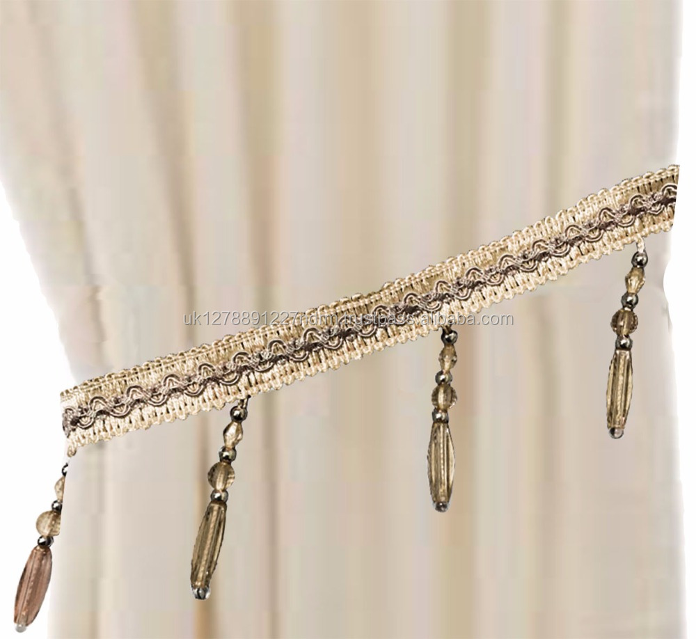 Rope Curtain Beige Beaded Gem Braid Tiebacks Rope Curtains Holdbacks Curtain Voile 10 Colours Uk Stock Fast Shipping Buy Tieback Curtain Tie Backs Curtain