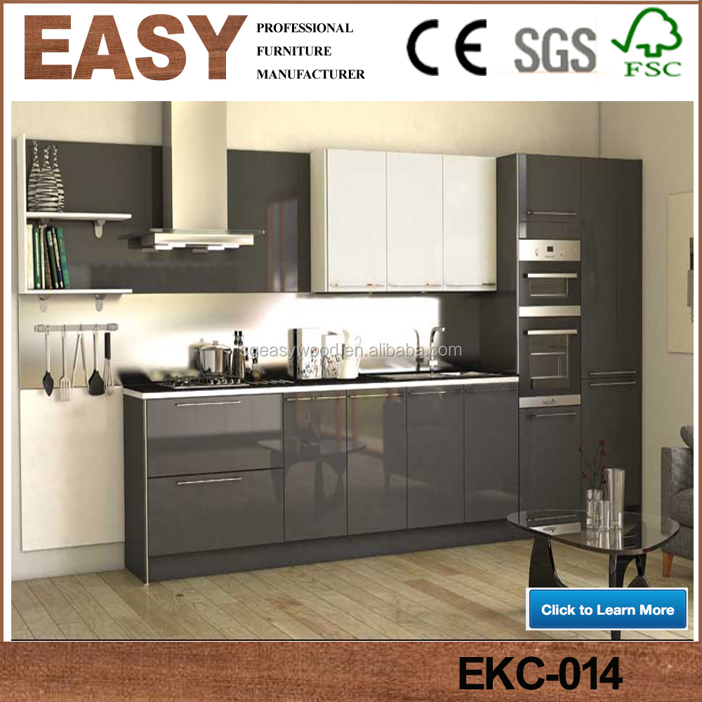 High Gloss Finish Laminate Modern Black Kitchen Cabinets View High Gloss Finish Kitchen Cabinet Easy Wood Product Details From Shouguang Easy Wood Co Ltd On Alibaba Com