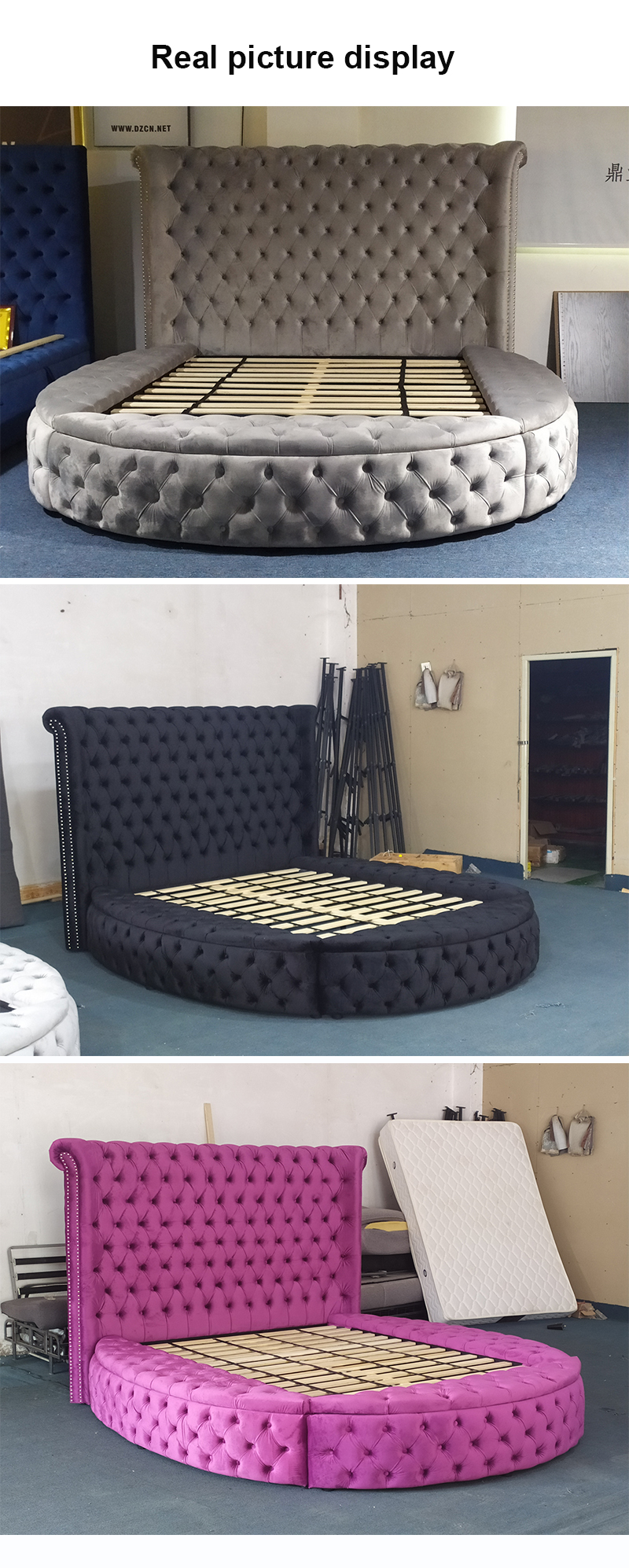Dingzhi Furniture New Bed Room Furniture Design Luxury Wood Round Camas Velvet Storage King Size Bed Buy Luxury Bed Wood Beds Bed Room Furnitures Product On Alibaba Com