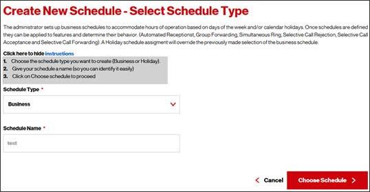One Talk Portal - Create New Schedule Verizon Wireless