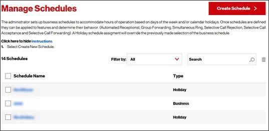 Create New Schedule - One Talk Portal Verizon Wireless - create schedule