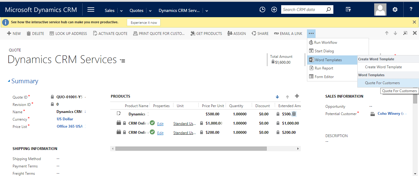Generating Word Quote Template in Dynamics CRM 2016 - Scaleable ...