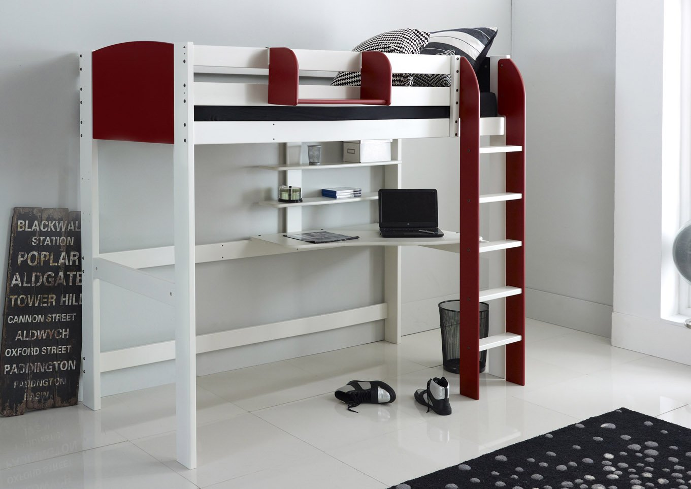 Toddler Cabin Bed High Sleeper Bed With Desk And Shelves | Scallywag Kids