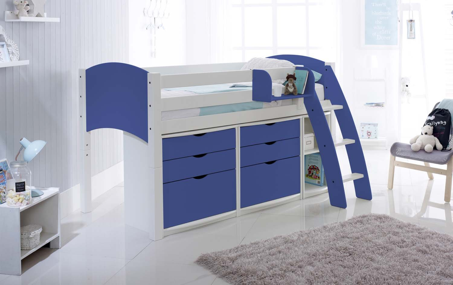 2ft 6 Cabin Bed Scallywag Convertible Mid Height Cabin Bed With Drawer Units And Shelf