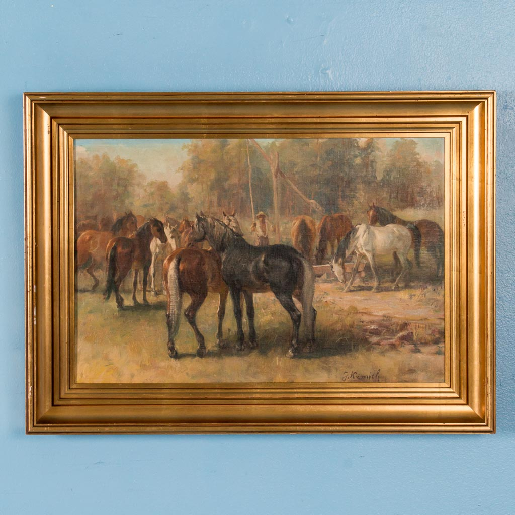 Buffets In Denver Original Early 20th Century Oil Painting Of Horses