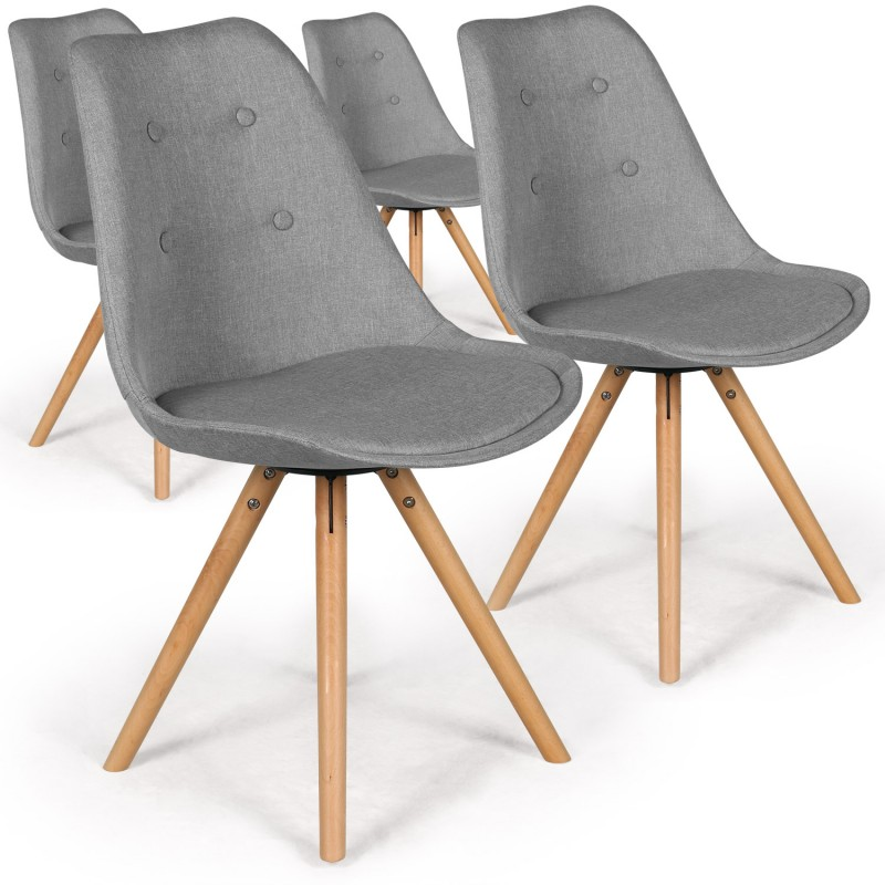 Lot De Chaises Scandinaves Chaises Scandinaves Ida Tissu Gris - Lot De 4 Pas Cher