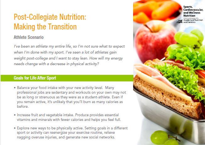 Sports Nutrition fact sheets - nutritionist job description