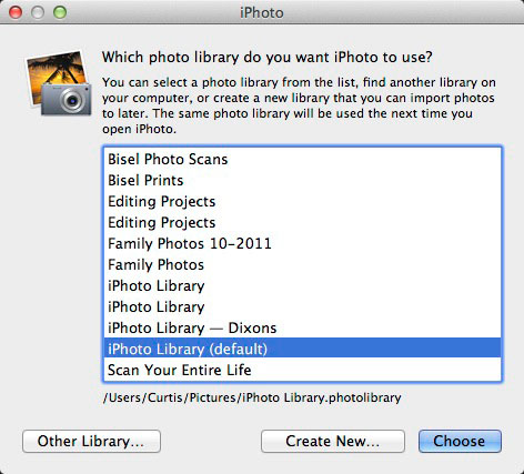 iPhoto Photo Library chooser window in iPhoto'11 version 9