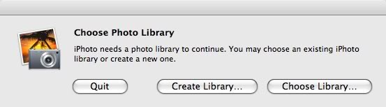 """iPhoto """"Choose Photo Library"""" window that asks you to """"quit"""", """"Create Library"""" or """"Choose Library"""""""