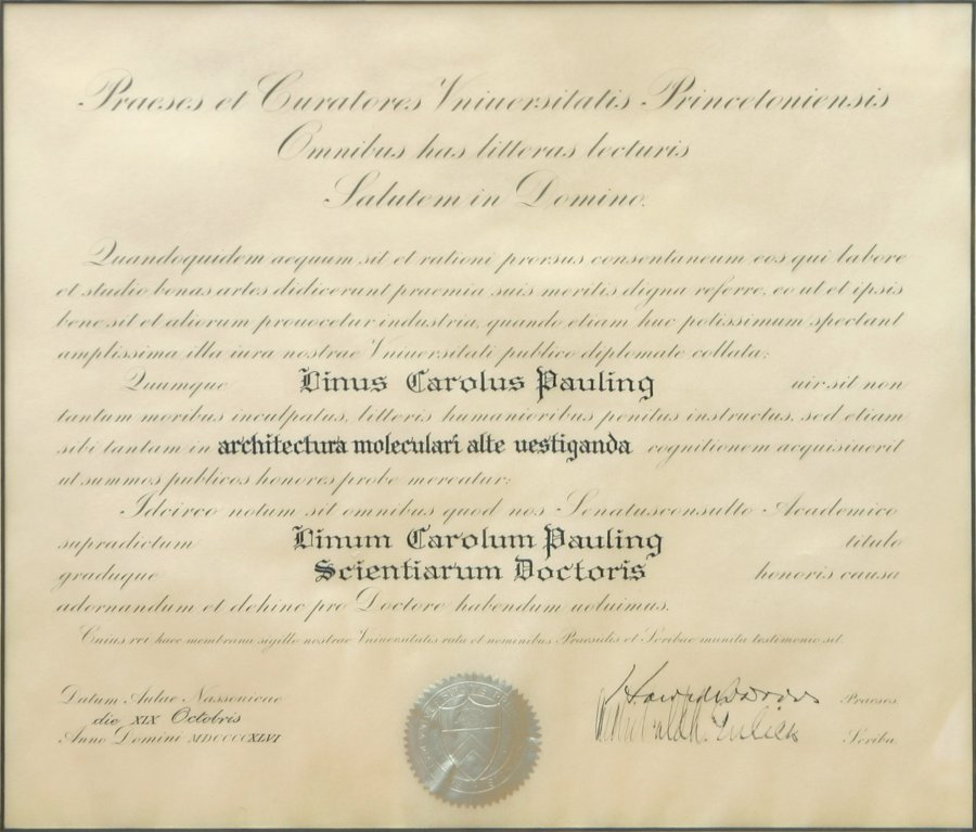 Princeton University, Doctor of Science honoris causa, Diploma - Graduation Certificate Paper