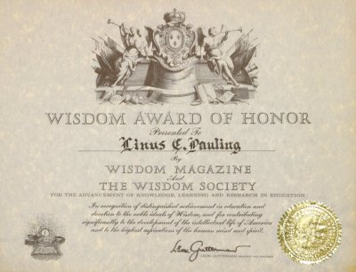 Wisdom Magazine and the Wisdom Society, Wisdom Award of Honor