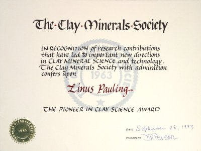 Clay Minerals Society, Pioneer in Clay Science Award, Certificate