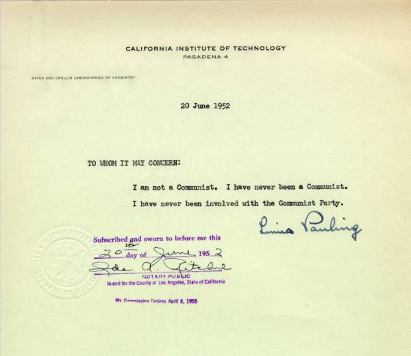 Notarized statement by Linus Pauling June 20, 1952 - Published - notary statement
