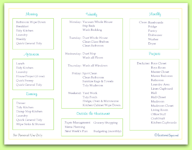 Free Home Keeping Checklist Printable - Scattered Squirrel - weekly checklist