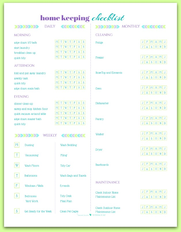 Home Keeping Checklist Weekly Printouts-Scattered Squirrel