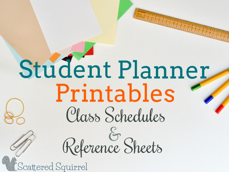 Student Planners - Class Schedules and Reference Sheets - printable assignment sheet