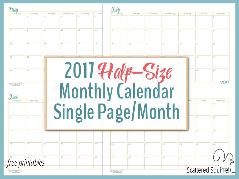 Free Printable Calendars The Spruce 2017 Half Size Monthly Calendar Printables