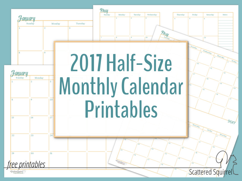 2017 Half-Size Monthly Calendar Printables - free printable monthly calendar