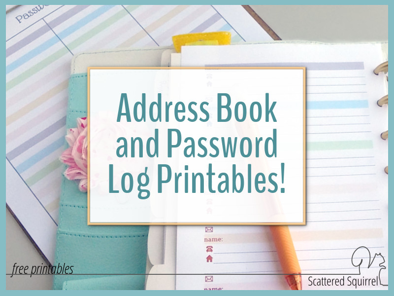 Colourful Address Book and Password Log Printables