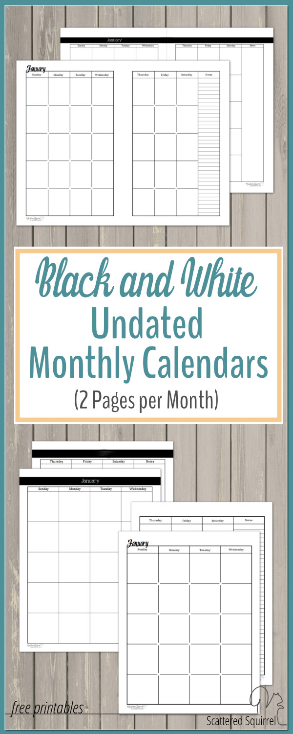 two page monthly calendar