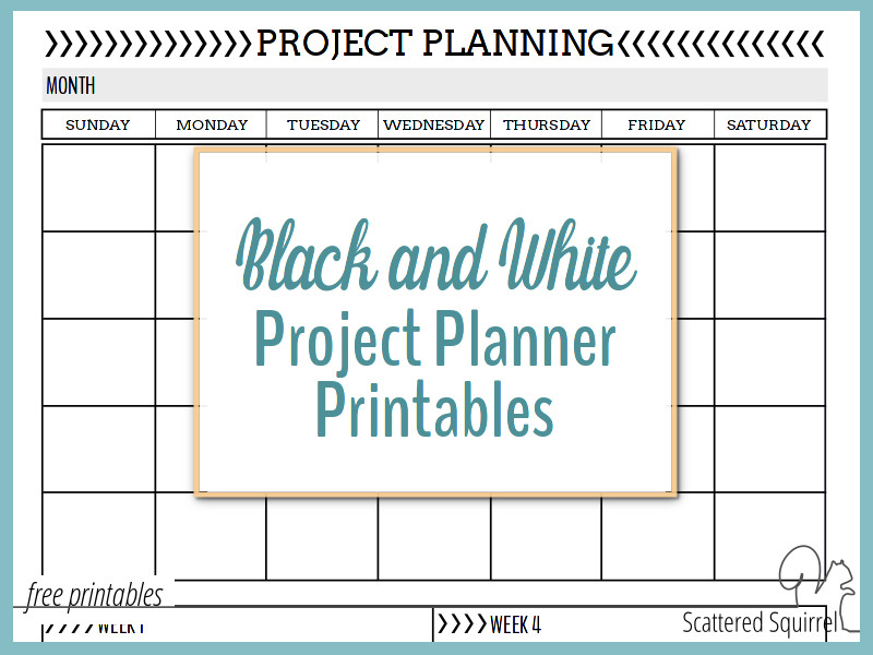 Black and White Project Planner Printables -Scattered Squirrel