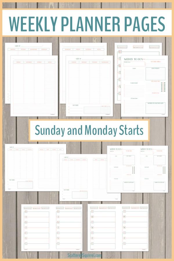 Weekly Planner Printables Pinterest - Scattered Squirrel