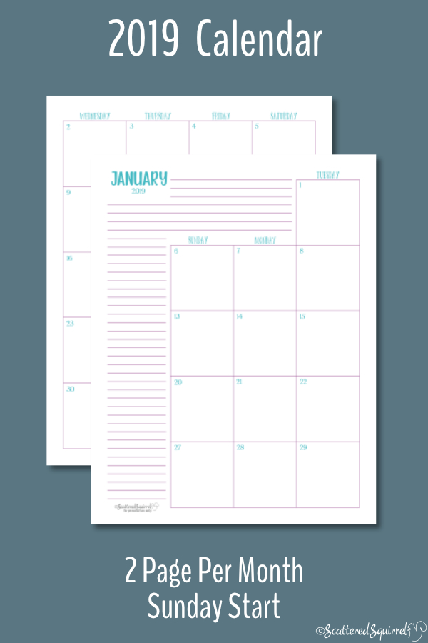 printable calendar 2 months per page 2019