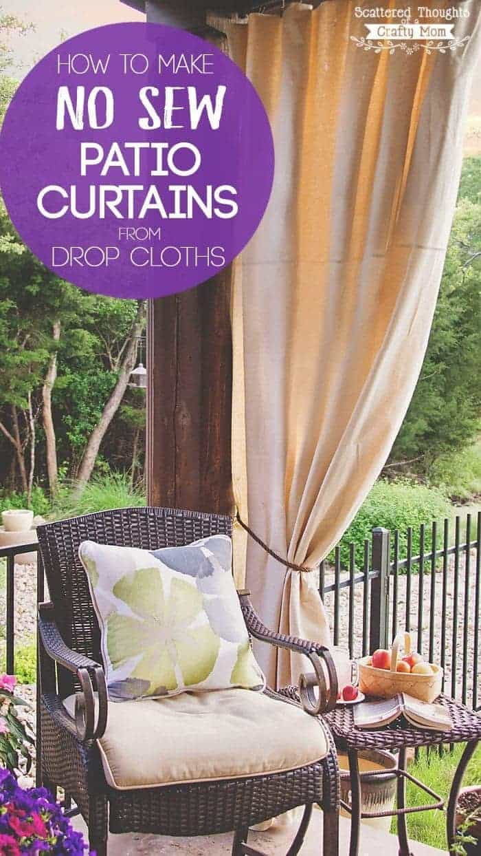 Outdoor Curtain Fabric By The Yard Diy Patio Curtains From Drop Cloths With No Sewing Scattered