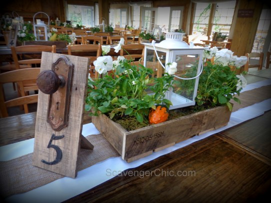 Pallet Wood Wedding Centerpiece, Khmaira Farm