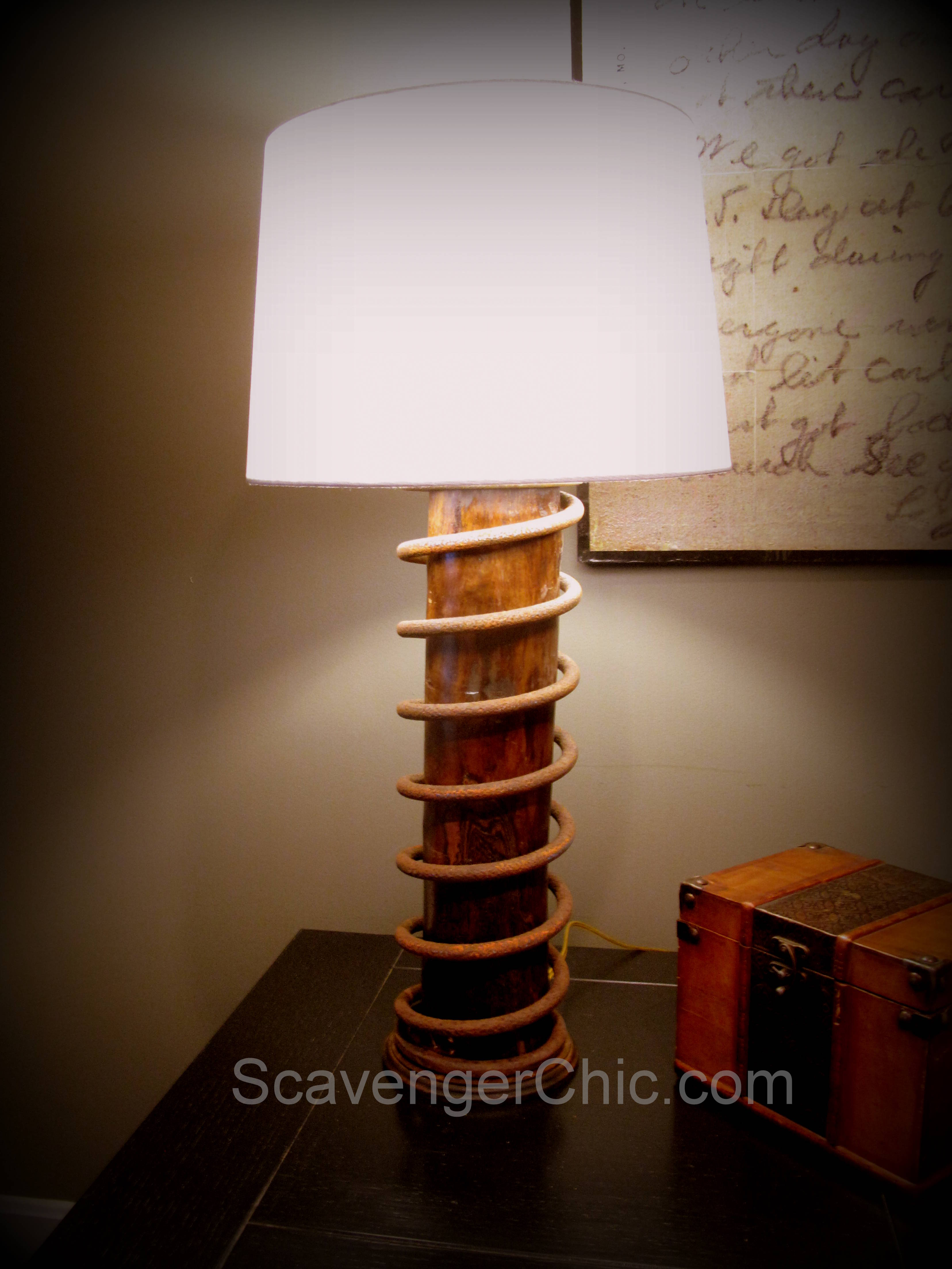 Upcycled Rusty Giant Spring Lamp