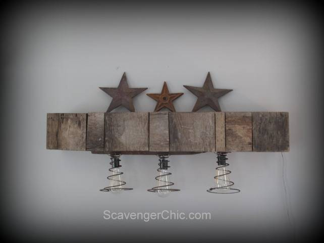 Pallet Wood and Bedsprings Light DIY, Upcycled, Repurposed, Rustic, Lighting, Lamps