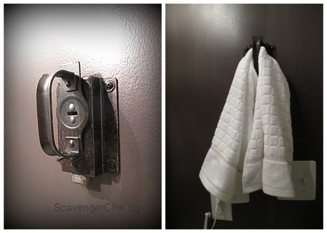 Upcycled door latch, Repurposed door latch, door latch towel holder