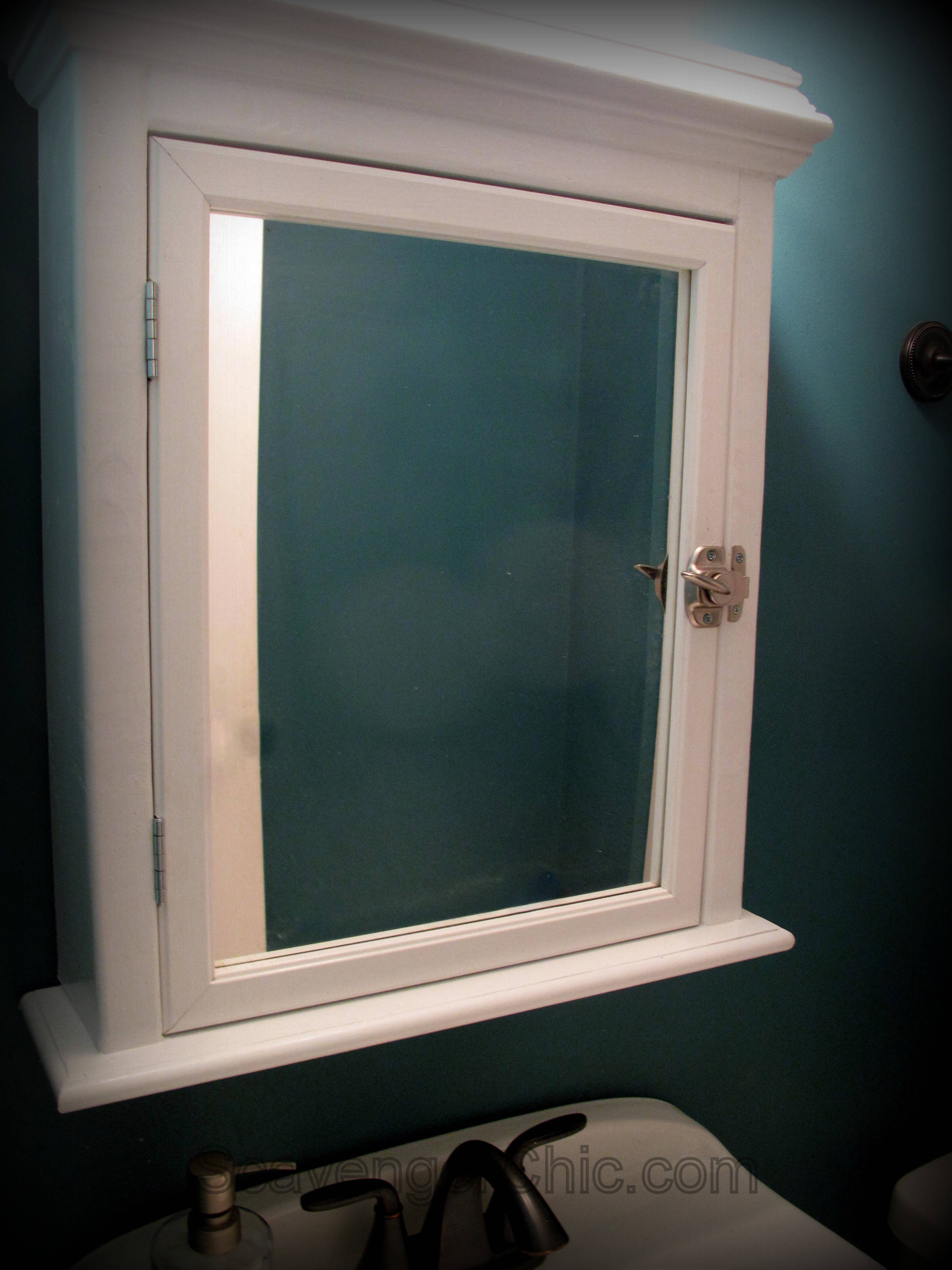 Create a Medicine Cabinet from a Mirror diy - Scavenger Chic