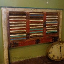 repurposed shutters headboard