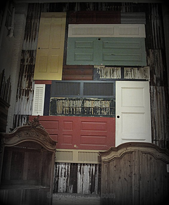20+ amazing recycled wall ideas- Wall of Shutters and Doors