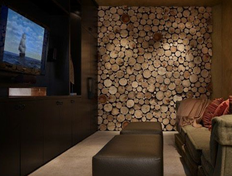 20+ Amazing Recycled Wall Ideas-Recycled Wood Rounds made into a focal wall