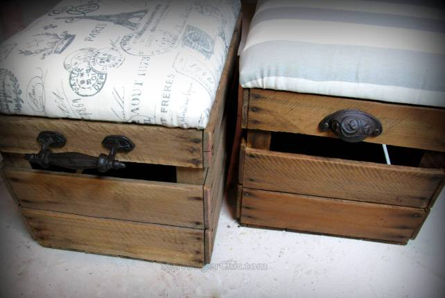 Upcycled Fruit Crate Ottoman, Repurposed Crate, Ottoman diy